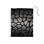 SKIN1 BLACK MARBLE & GRAY METAL 1 Drawstring Pouches (Medium)  Front