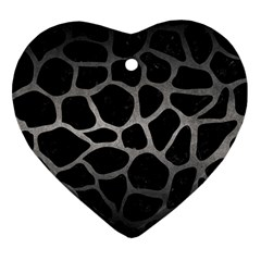 Skin1 Black Marble & Gray Metal 1 (r) Heart Ornament (two Sides)