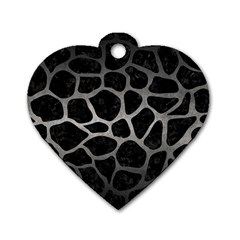 Skin1 Black Marble & Gray Metal 1 (r) Dog Tag Heart (two Sides)