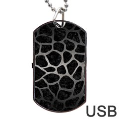 Skin1 Black Marble & Gray Metal 1 (r) Dog Tag Usb Flash (one Side)