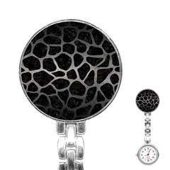 Skin1 Black Marble & Gray Metal 1 (r) Stainless Steel Nurses Watch
