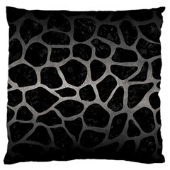 Skin1 Black Marble & Gray Metal 1 (r) Large Flano Cushion Case (one Side)