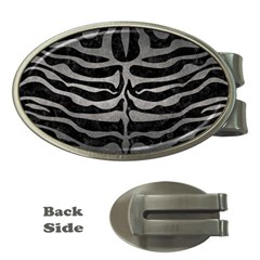 Skin2 Black Marble & Gray Metal 1 Money Clips (oval)