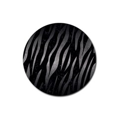 Skin3 Black Marble & Gray Metal 1 Rubber Round Coaster (4 Pack)