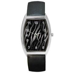Skin3 Black Marble & Gray Metal 1 Barrel Style Metal Watch