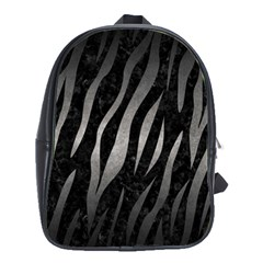 Skin3 Black Marble & Gray Metal 1 School Bag (large)