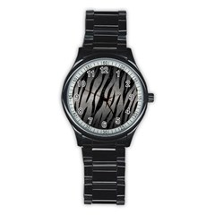 Skin3 Black Marble & Gray Metal 1 (r) Stainless Steel Round Watch