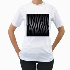 Skin4 Black Marble & Gray Metal 1 Women s T Shirt (white) (two Sided)