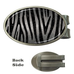 Skin4 Black Marble & Gray Metal 1 Money Clips (oval)