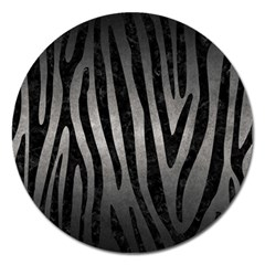 Skin4 Black Marble & Gray Metal 1 Magnet 5  (round)