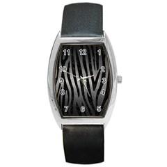 Skin4 Black Marble & Gray Metal 1 Barrel Style Metal Watch