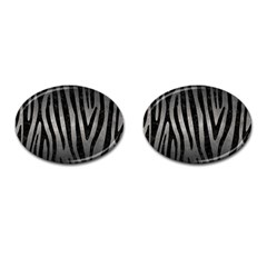 Skin4 Black Marble & Gray Metal 1 Cufflinks (oval)