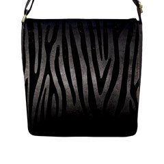 Skin4 Black Marble & Gray Metal 1 Flap Messenger Bag (l)