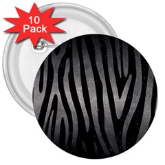 Skin4 Black Marble & Gray Metal 1 (r) 3  Buttons (10 Pack)