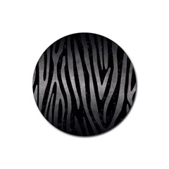 Skin4 Black Marble & Gray Metal 1 (r) Rubber Round Coaster (4 Pack)