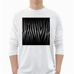 Skin4 Black Marble & Gray Metal 1 (r) White Long Sleeve T Shirts