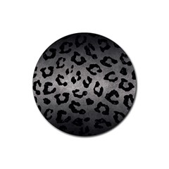 Skin5 Black Marble & Gray Metal 1 Rubber Round Coaster (4 Pack)