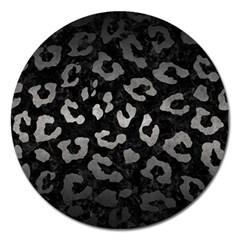 Skin5 Black Marble & Gray Metal 1 (r) Magnet 5  (round)