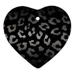 Skin5 Black Marble & Gray Metal 1 (r) Heart Ornament (two Sides)