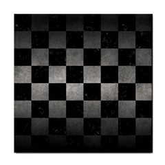 Square1 Black Marble & Gray Metal 1 Tile Coasters