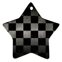 Square1 Black Marble & Gray Metal 1 Star Ornament (two Sides)