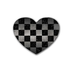 Square1 Black Marble & Gray Metal 1 Heart Coaster (4 Pack)