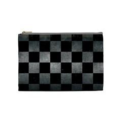 Square1 Black Marble & Gray Metal 1 Cosmetic Bag (medium)