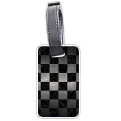 Square1 Black Marble & Gray Metal 1 Luggage Tags (two Sides)