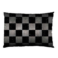 Square1 Black Marble & Gray Metal 1 Pillow Case (two Sides)