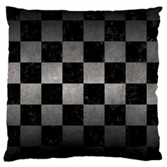 Square1 Black Marble & Gray Metal 1 Large Cushion Case (one Side)