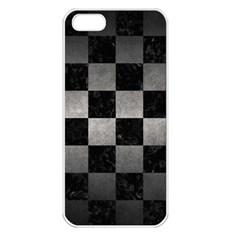 Square1 Black Marble & Gray Metal 1 Apple Iphone 5 Seamless Case (white)