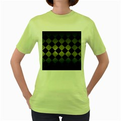 Square2 Black Marble & Gray Metal 1 Women s Green T Shirt