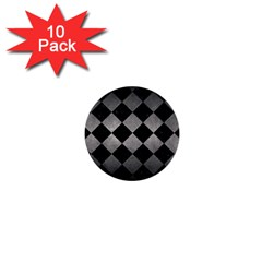 Square2 Black Marble & Gray Metal 1 1  Mini Buttons (10 Pack)