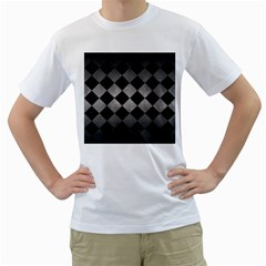 Square2 Black Marble & Gray Metal 1 Men s T Shirt (white) (two Sided)