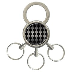 Square2 Black Marble & Gray Metal 1 3 Ring Key Chains