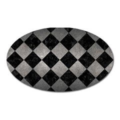 Square2 Black Marble & Gray Metal 1 Oval Magnet