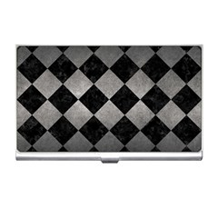 Square2 Black Marble & Gray Metal 1 Business Card Holders