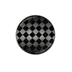 Square2 Black Marble & Gray Metal 1 Hat Clip Ball Marker (10 Pack)