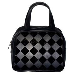 Square2 Black Marble & Gray Metal 1 Classic Handbags (one Side)