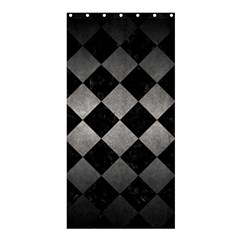 Square2 Black Marble & Gray Metal 1 Shower Curtain 36  X 72  (stall)