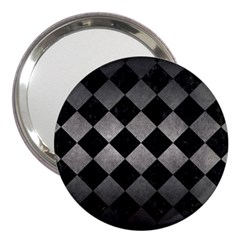 Square2 Black Marble & Gray Metal 1 3  Handbag Mirrors