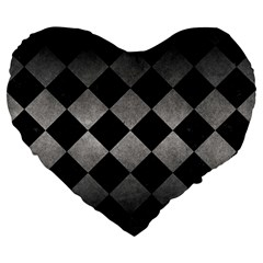 Square2 Black Marble & Gray Metal 1 Large 19  Premium Heart Shape Cushions