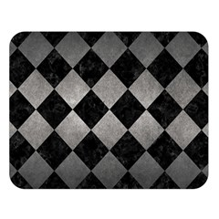 Square2 Black Marble & Gray Metal 1 Double Sided Flano Blanket (large)