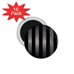 Stripes1 Black Marble & Gray Metal 1 1 75  Magnets (10 Pack)