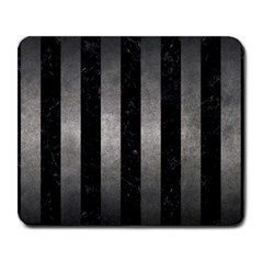 Stripes1 Black Marble & Gray Metal 1 Large Mousepads