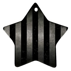Stripes1 Black Marble & Gray Metal 1 Star Ornament (two Sides)