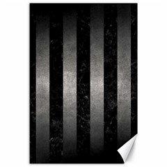 Stripes1 Black Marble & Gray Metal 1 Canvas 24  X 36