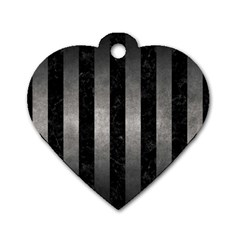 Stripes1 Black Marble & Gray Metal 1 Dog Tag Heart (two Sides)