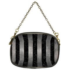 Stripes1 Black Marble & Gray Metal 1 Chain Purses (one Side)