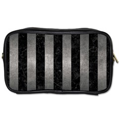 Stripes1 Black Marble & Gray Metal 1 Toiletries Bags